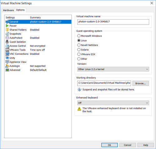 Running Photon OS on Workstation · VMware Photon OS 1 0 and 2 0