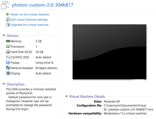 Running Photon OS on Workstation · VMware Photon OS 1 0 and