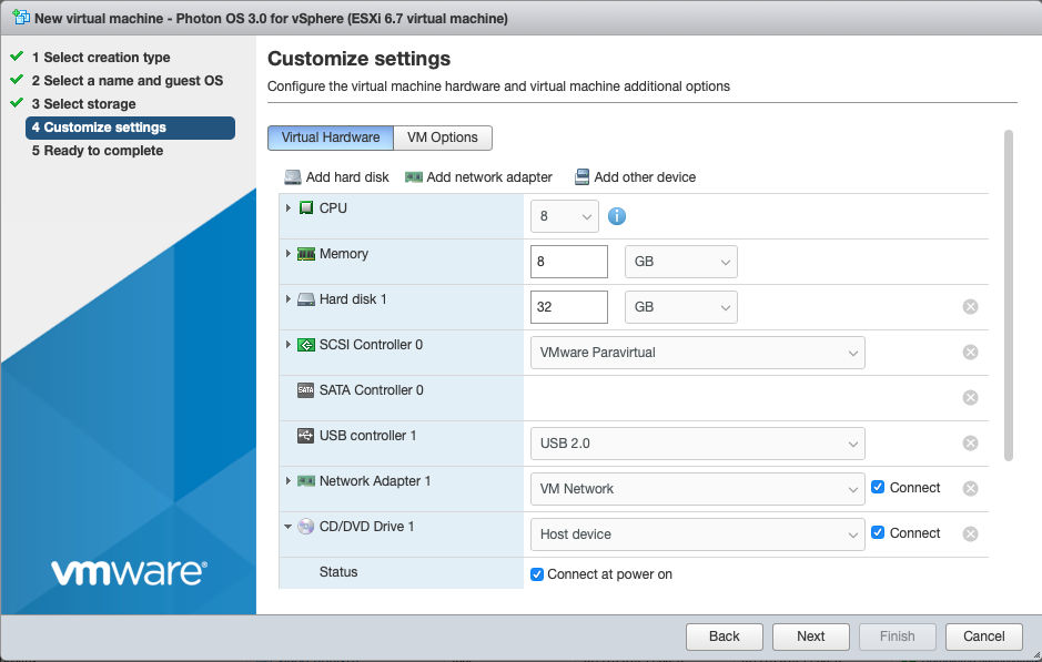 esxi 6.5 create linux vm from iso